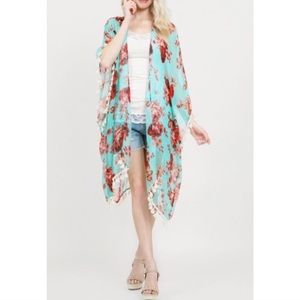 Tops - ✅ Offers Welcome Mint floral Kimono w tassels